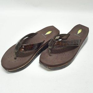 Volatile Brown Faux Leather Wedge Flip Flops